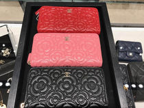 Chanel Cameria☆Grained Shinny Calf Skin☆Zip長財布