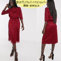 国内発送 ASOS/Oasis lace midi dress in burgundy