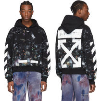 OFF WHITE DIAG GALAXY BRUSHED OVER HOODIE PARKA