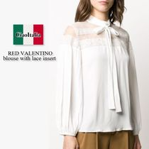 Red valentino blouse with lace insert