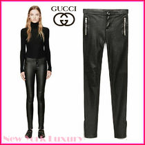 GUCCI★素敵!Black Leather Stretch Skinny Pants