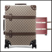 + Globe-Trotter leather-trimmed printed coated-canvas
