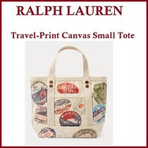 ★Ralph Lauren★ Travel-Print Canvas Small Tote