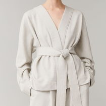 """COS"" BELTED COTTON-LINEN CARDIGAN LIGHTTAUPE"