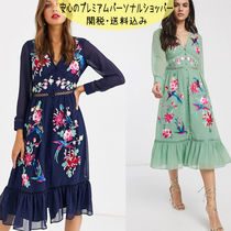 国内発送ASOS DESIGN embroidered skater midi dress lace trims