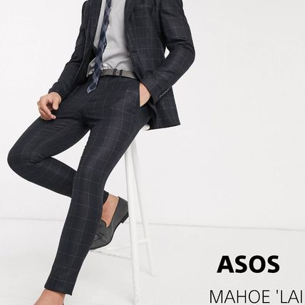 ASOS スーツ ASOS Selected Homme skinny fit stretch suit パンツ check