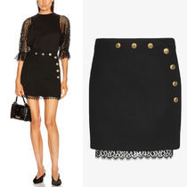 G635 WOOL MINI SKIRT WITH LACE DETAIL