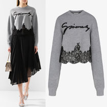 G641 CROPPED SWEATER WITH LACE TRIM