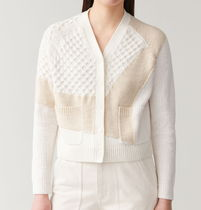 """COS"" MULTI-STITCH CARDIGAN WHITE/BEIGE"