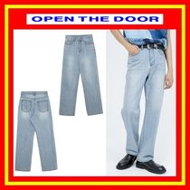 [OPEN THE DOOR]  washed light blue jeans  ◆男女兼用◆追跡付