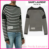 SAINT LAURENT★素敵!SMOKING FOREVER STRIPED LONG SLEEVE TOP