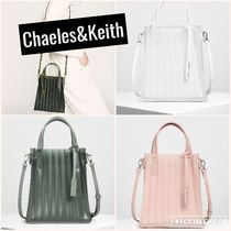 CHARLES & KEITH 透明 プリーツトートバッグ 春色/送料込み