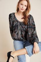 Maeve Madeira Burnout Satin Blouse