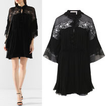 C521 SILK GEORGETTE DRESS WITH LACE INSERT