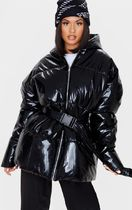 Black High Shine Hooded Midi Belted Puffer Jacket