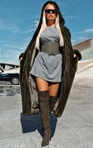 Khaki Hooded Faux Fur Military Coat