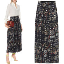 C540 LUREX FIL COUPE JACQUARD EMBROIDERED SILK SKIRT