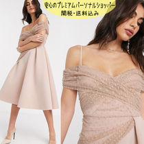 国内発送ASOS DESIGN off shoulder dobby midi prom dress