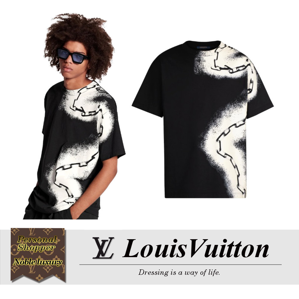 20SS LOUIS VUITTON Tシャツウィズスプレーチェーンプリント 黒 (Louis Vuitton/Tシャツ・カットソー) 1A5VSR  1A5VSS  1A5VST