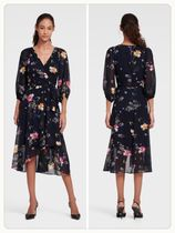 (NEW/日本未入荷) FLORAL FAUX WRAP DRESS WITH BALLOON SLEEVE