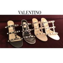 ヴァレンティノ◆ROCKSTUD CALFSKIN LEATHER SLIDE SANDAL 60 MM