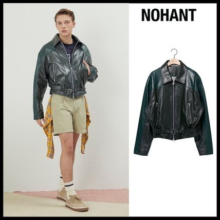 NOHANT レザージャケット ☆NOHANT☆ OVERSIZED COLOR BLOCK LEATHER JACKET GREEN