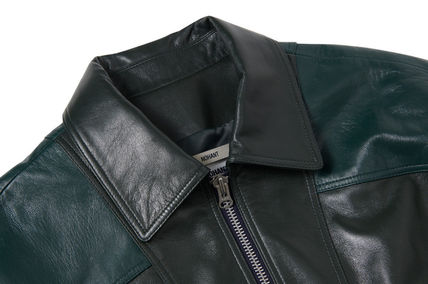 NOHANT レザージャケット ☆NOHANT☆ OVERSIZED COLOR BLOCK LEATHER JACKET GREEN(8)