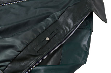 NOHANT レザージャケット ☆NOHANT☆ OVERSIZED COLOR BLOCK LEATHER JACKET GREEN(11)