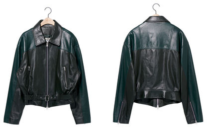 NOHANT レザージャケット ☆NOHANT☆ OVERSIZED COLOR BLOCK LEATHER JACKET GREEN(12)