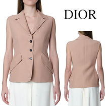 DIOR WOOL & SILK DOUBLE BREASTED SLEEVELESS JACKET