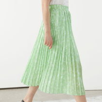 """& Other Stories"" Pleated Midi Skirt GreenFloral"