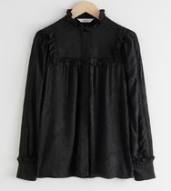 """""""& Other Stories"""" Jacquard Frill Blouse Black"""
