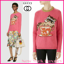 GUCCI★グッチ★素敵!PINK WOOL CAT IN TEACUP SWEATER