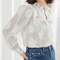 """""""& Other Stories"""" Jacquard Frill Blouse White"""