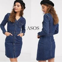 ASOS*DY*Vネックデニムワンピース/Blue【送料*関税込み】