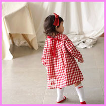 【ArimCloset】red check + red ribbon baby cotton dress