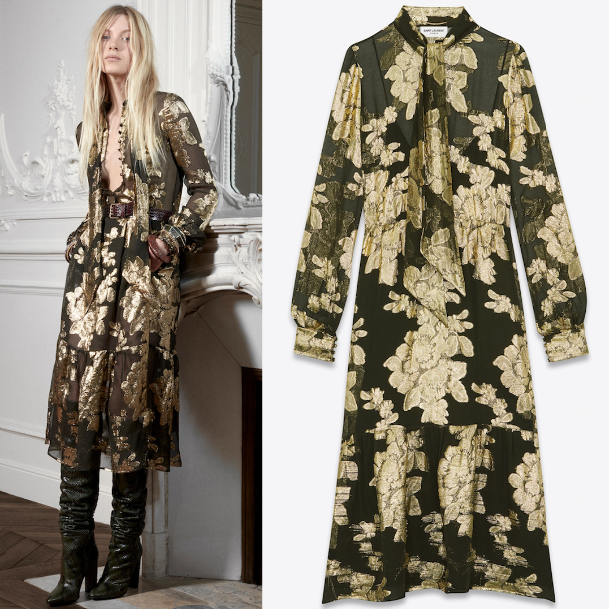WSL1667 LAVALLIERE-NECK DRESS IN FLORAL LAME SILK GEORGETTE (Saint Laurent/ワンピース) 614419Y7A103268