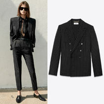 WSL1669 LOOK1 LAME STRIPE DOUBLE BREASTED JACKET