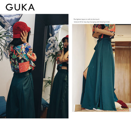 【20SS】GUKA★Ms Green Incised Long Wide Pants