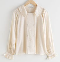 """""""& Other Stories"""" Double Breasted Jacquard Blouse White"""
