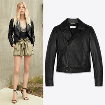 WSL1678 LOOK18 SMOOTH DRUMMED LAMBSKIN FITTED BIKER JACKET
