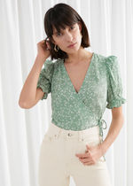 & Other Stories新作☆Puff Sleeve Wrap Blouse(green)