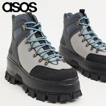 ASOS DESIGN lace up boot in multi grey on chunky sole