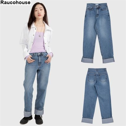 Raucohouse デニム・ジーパン 大人気★Raucohouse☆ROLL-UP WIDE DENIM PANTS