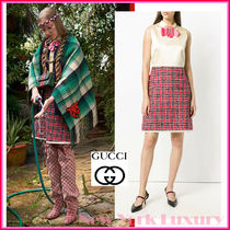 GUCCI★素敵!SLEEVELESS TWEED CHECK WITH CRYSTAL BOW DRESS