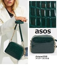 ASOS★クロコチェーンショルダーバッグ/緑(Forest green)