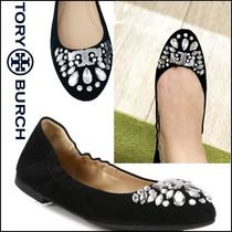 TORY BURCH★Delphine Crystal & Suede バレエ フラットシューズ