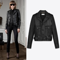 WSL1710 AVIATOR BOMBER JACKET IN SHINY GRAINED LAMBSKIN