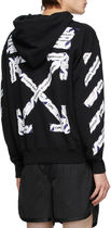 OFF-WHITE!AIRPORT TAPE ZIP-UP HOODIE BLACK アローパーカー黒