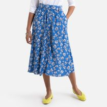 La Redoute Floral Print Buttoned Skirt with Belt